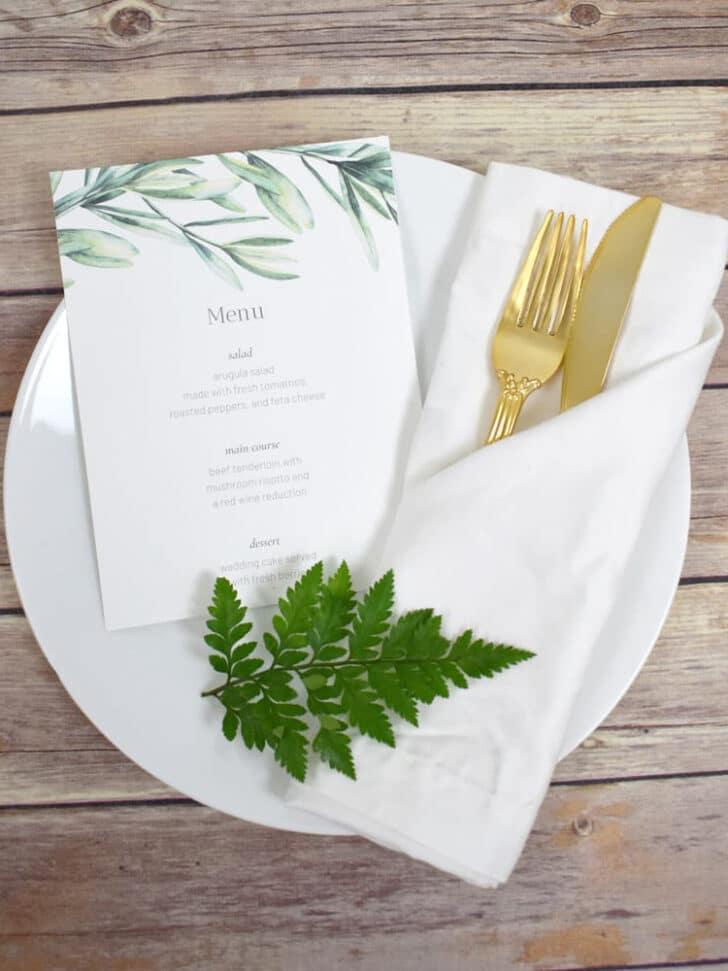 free printable wedding menu