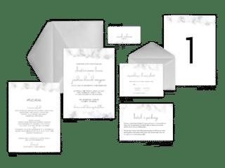 Marbella - Marble Wedding Invitation Suite Light Gray Marble