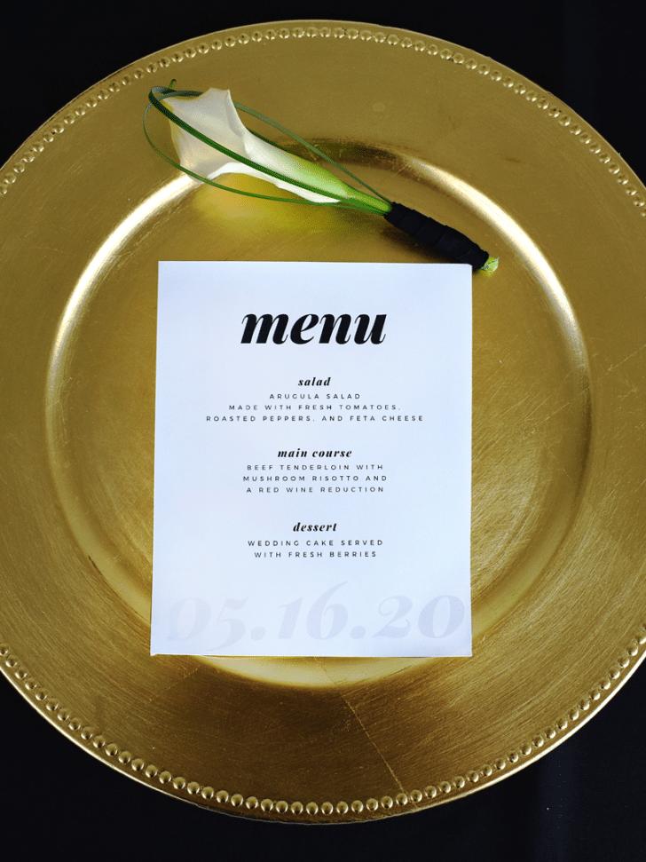wedding menu printables