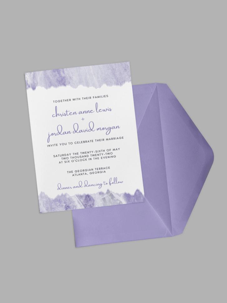 purple marble wedding invitation templates