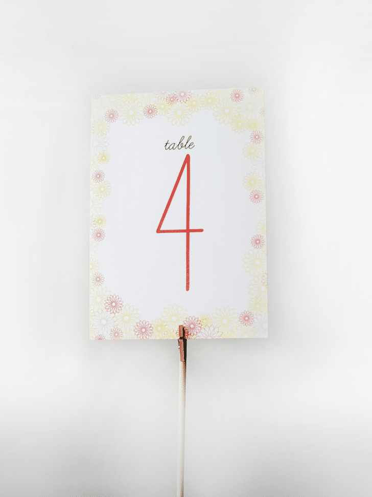 spring table numbers printables