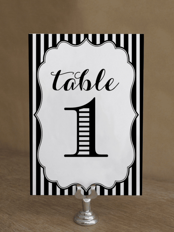 free striped table numers