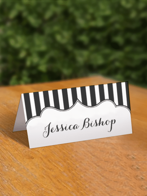 free striped place cards