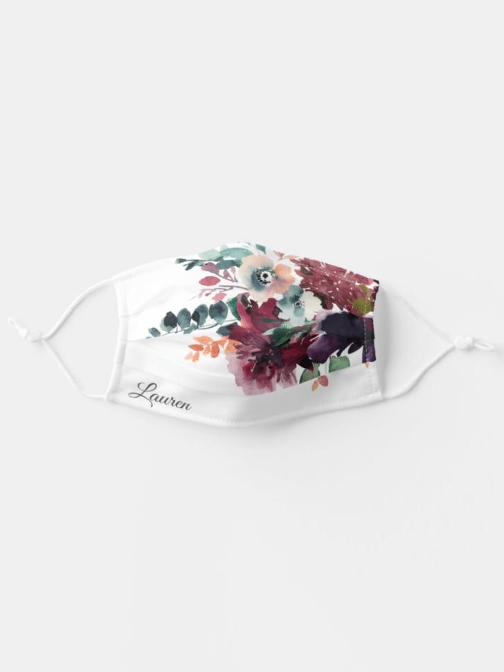 Zazzle face masks watercolor flowers